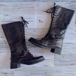 Martino knee high leather combat boot